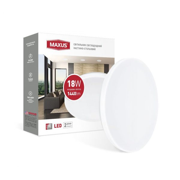 Світильник світлодіодний настінно-стельовий Maxus Ceiling light 18W