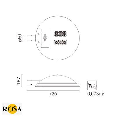 Світлодіодний світильник Rosa COSMO LED розміри