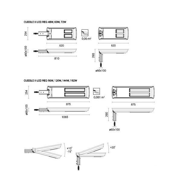 Світлодіодний світильник Rosa CUDDLE II LED REG розміри