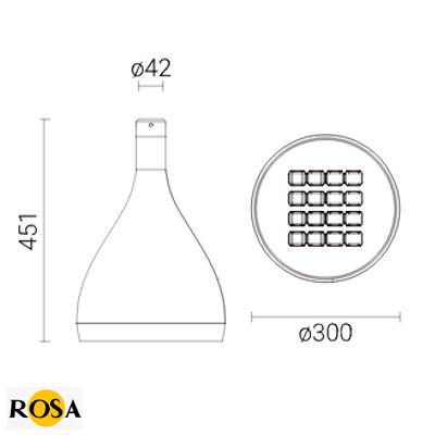 Світлодіодний світильник парковий Rosa DROP LED розміри
