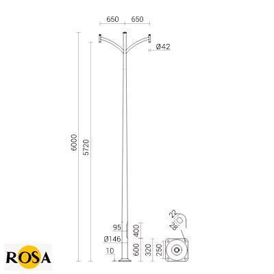 Опора алюмінієва зі зварними оголовниками Rosa SAL-K2 ZP фото