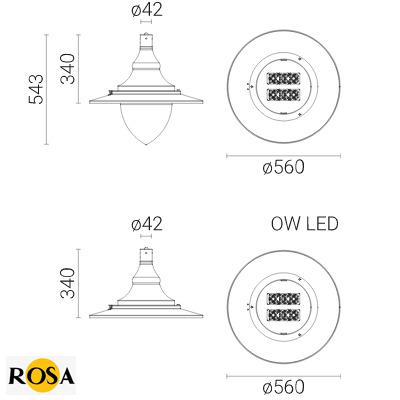 Світлодіодний світильник Rosa OW LED розміри
