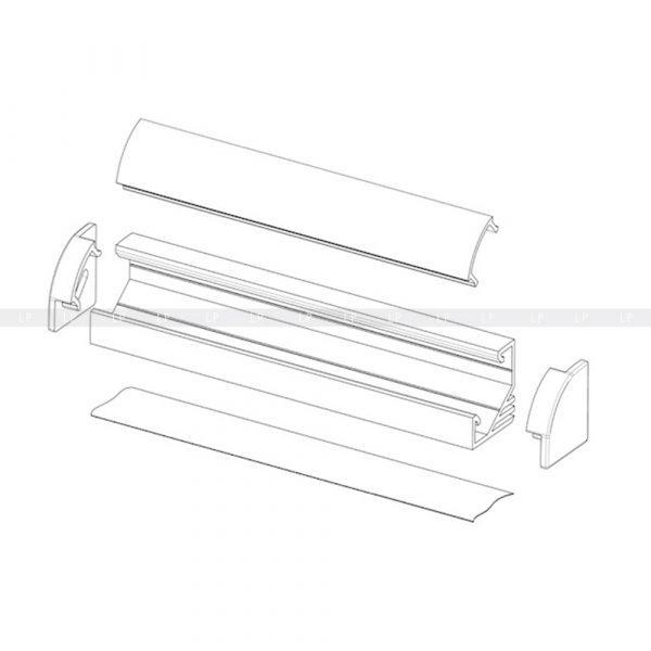 LED-профіль алюмінієвий кутовий ЛПУ (схема 2)