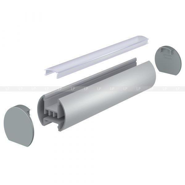 LED профіль алюмінієвий круглий анодований, срібло (ЛСК) схема