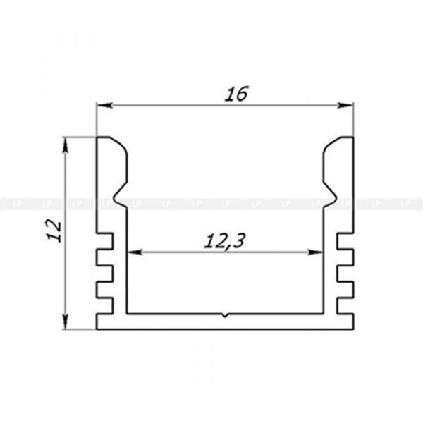 LED-профіль алюмінієвий анодований ЛП12 (розміри)