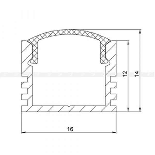 LED-профіль алюмінієвий анодований ЛП12 (в розрізі)