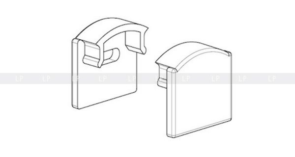 LED-профіль алюмінієвий анодований ЛП12 (заглушки)
