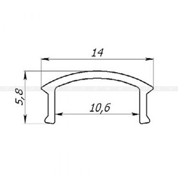 LED-профіль алюмінієвий врізний ЛПВ12 (розсіювач в розрізі)