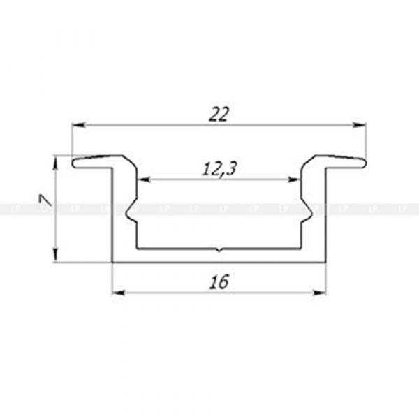 LED-профіль алюмінієвий врізний ЛПВ7 (розтин схема 3)