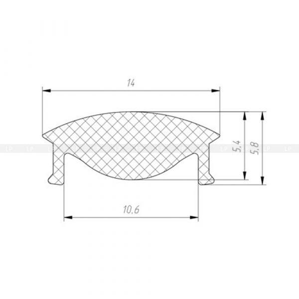 LED-профіль алюмінієвий врізний ЛПВ12 (в розрізі)