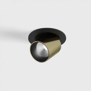 Світильник поворотний стельовий вбудований TUB S OUT чорний-латунь